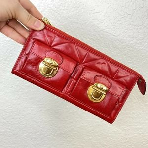 Marc Jacobs Red Leather Quilted Wallet Clutch Zip Top Closure Made in Italy